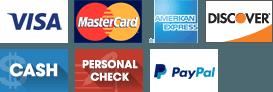 Visa | MasterCard | American Express | Discover | Cash | Personal Check | Paypal