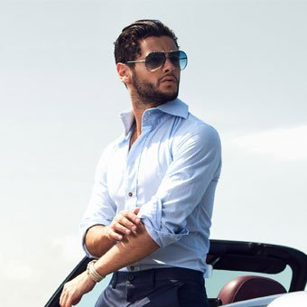 Handsome man wearing light blue shirt