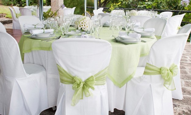 Chairs with white linen