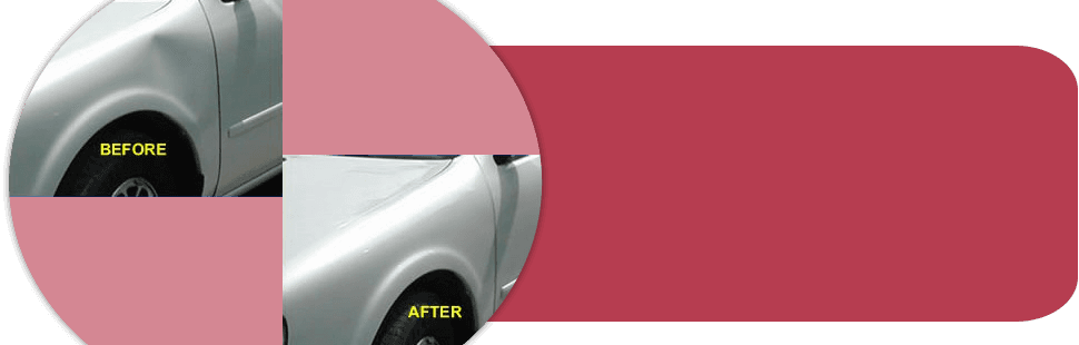 A picture of before and after dent removal