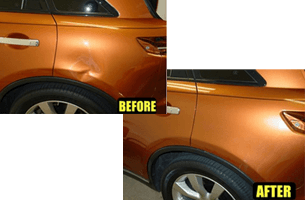 A picture of dent work by paintless dent repair
