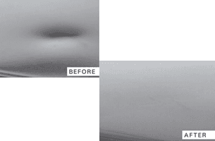 A picture of small dent remove before and after