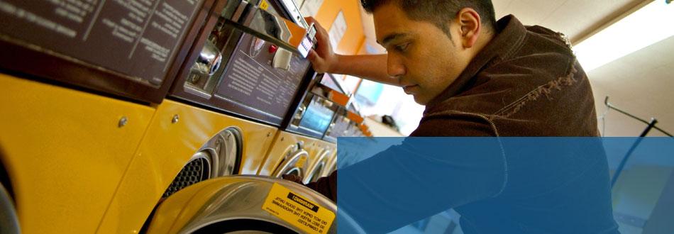 Man repairing dryer