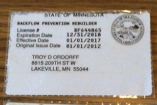 Backflow Prevention Rebuilder Identification Card