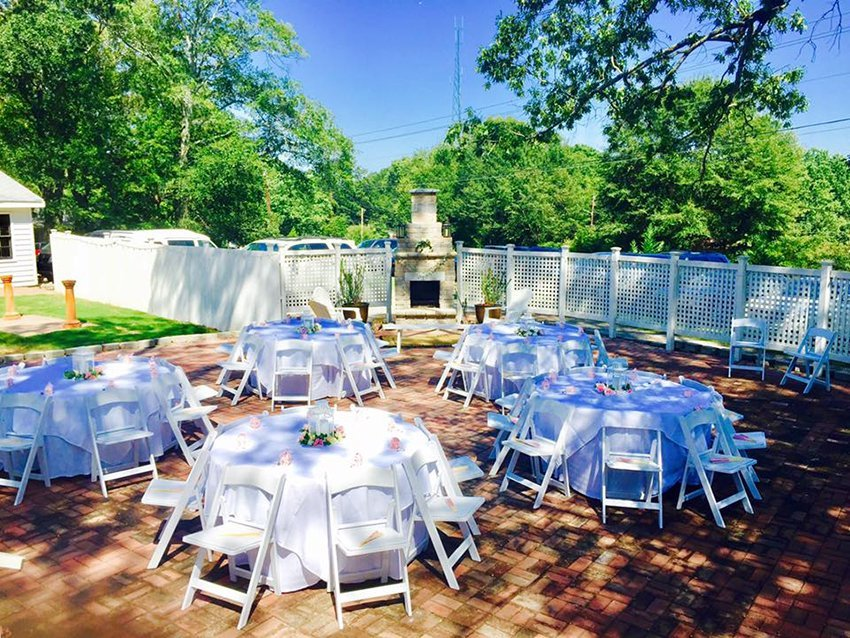 Tables and chairs for outdoor wedding reception