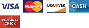 Visa, Discover, MasterCard, Cash, and Personal Check: