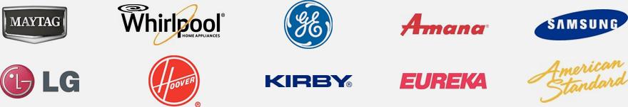 Maytag, Whirlpool, GE, Amana, Samsung, LG, Hoover, Kirby, Eureka, and American Standard