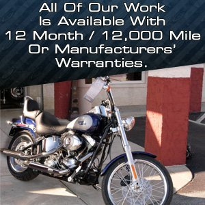 Motorcycle Repairs - Cathedral City, CA - Phil's Immediate Care Auto Repair Inc - All Of Our Work Is Available With 12 Month / 12,000 Mile Or Manufacturers' Warranties.