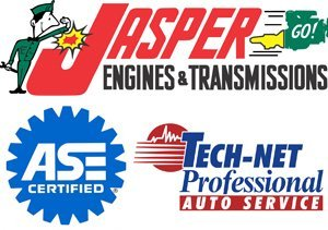 ASE Certified Technicians, Jasper Engines & Transmissions, and Tech-Net Professional Auto Service logo
