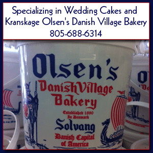 Pastry - Santa Barbara, CA - Olsen's Danish Village Bakery - Olsen's Product - Specializing in Wedding Cakes and Kranskage Olsen's Danish Village Bakery 805-688-6314