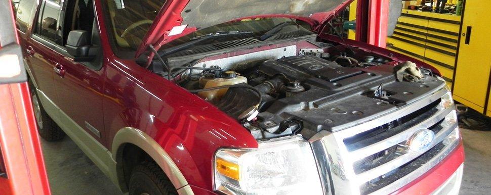 Auto truck under repair