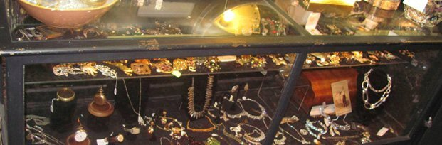 Jewelries in a glass cabinet