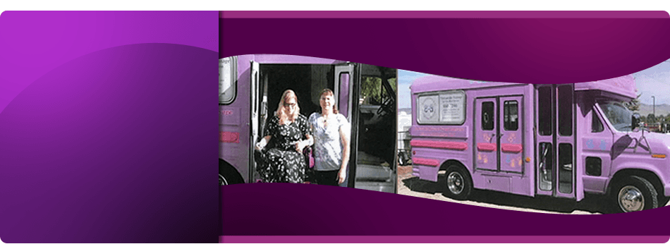 Massage therapists with purple van