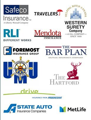 Safeco Insurance | Travelers | Western Surety | RLI | Mendota Insurance | Foremost Insurance Group | The Bar Plan | UMU | The Hartford | Drive | AAA | State Auto | MetLife