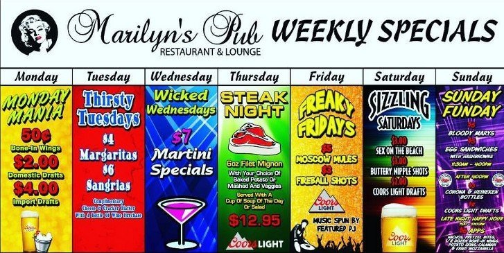 Marilyn's Pub Restaurant & Lounge Weekly Specials