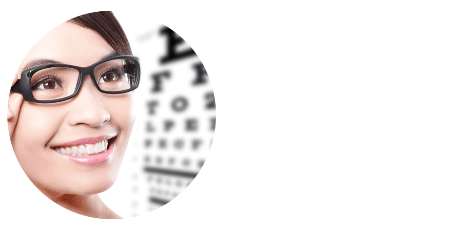Women with glasses and eyechart