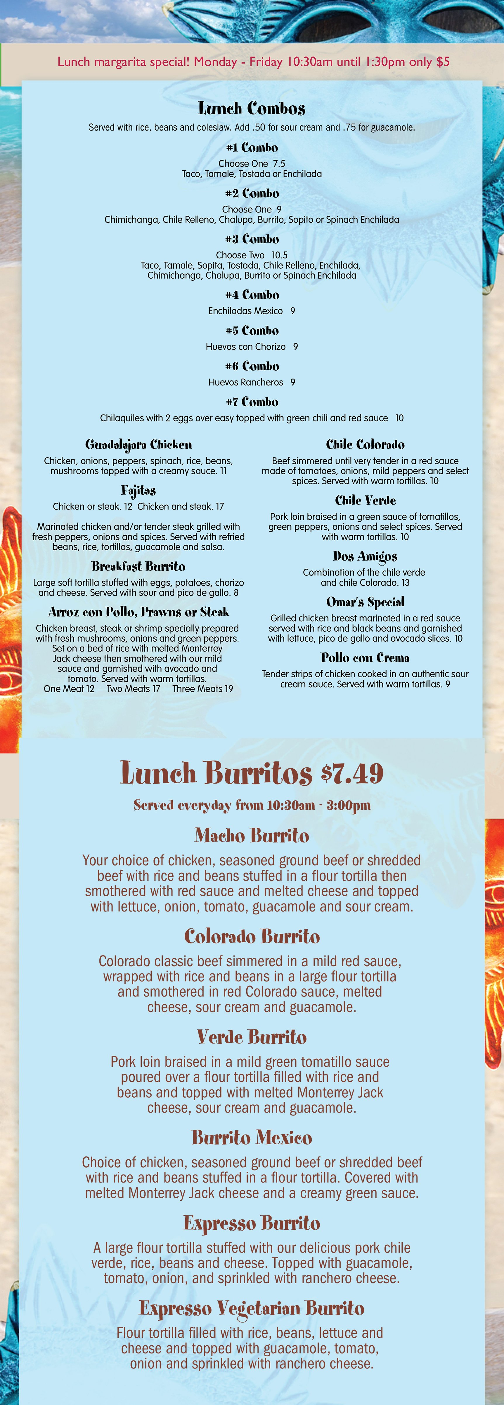 Olive Garden Menu Pdf: Los Cabos Family Mexican Restaurant Lunch Menu
