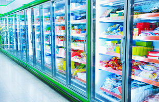 Commercial refrigerator in a supermarket