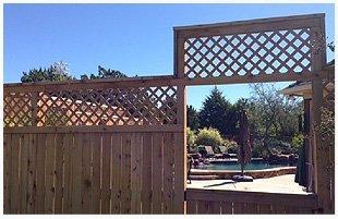 Cedar wood fence in the backyard