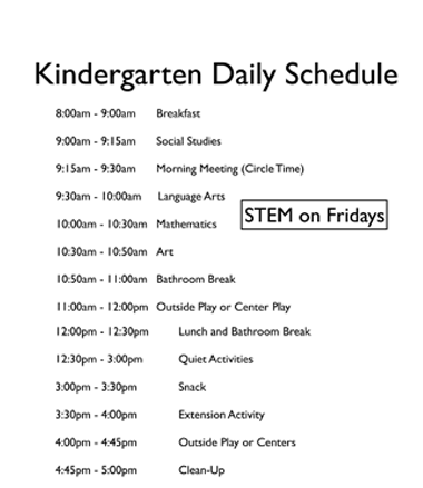 Schedule for Kindergarten