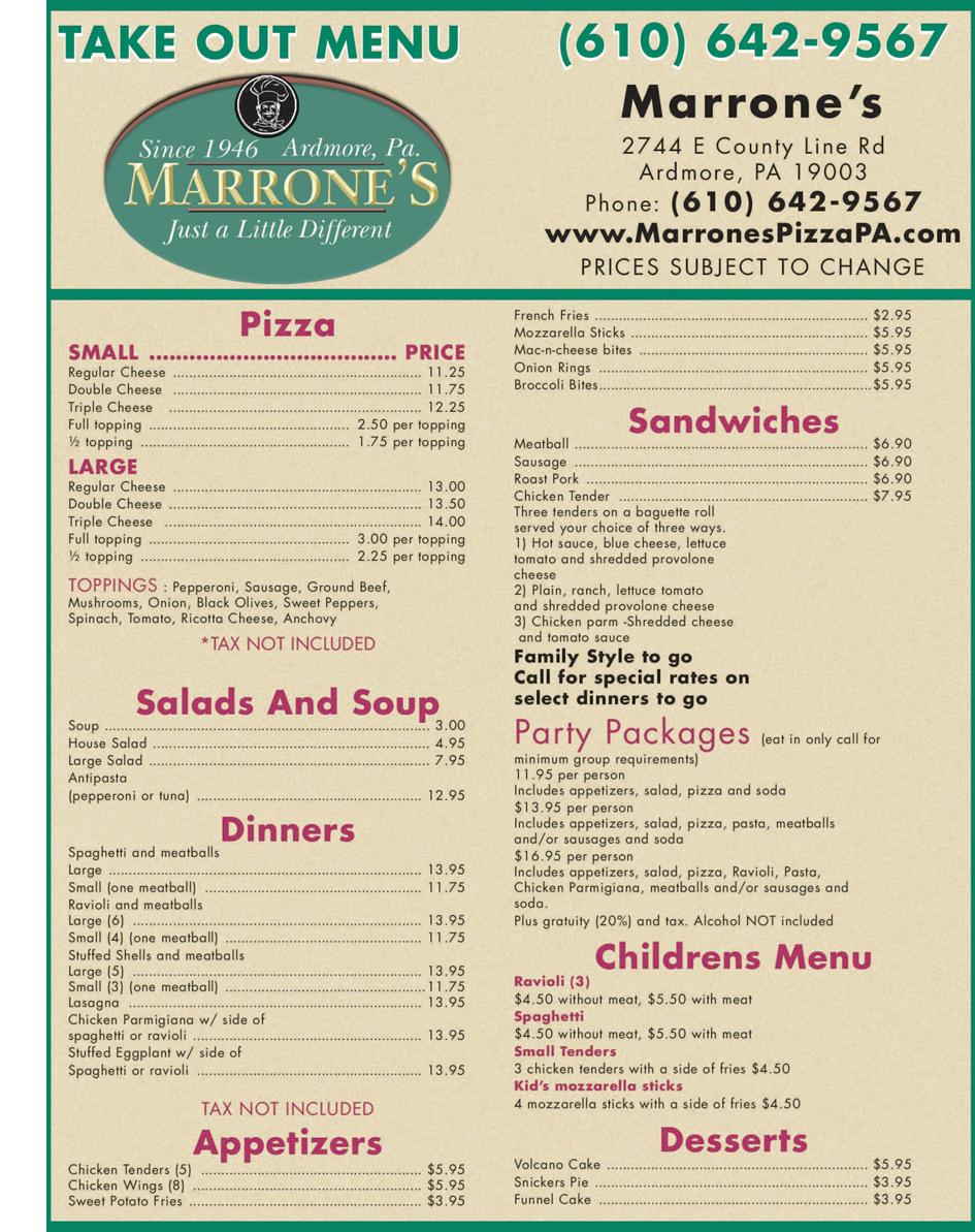 Ardmore, PA - Marrone's Pizzeria - Italian Cuisine
