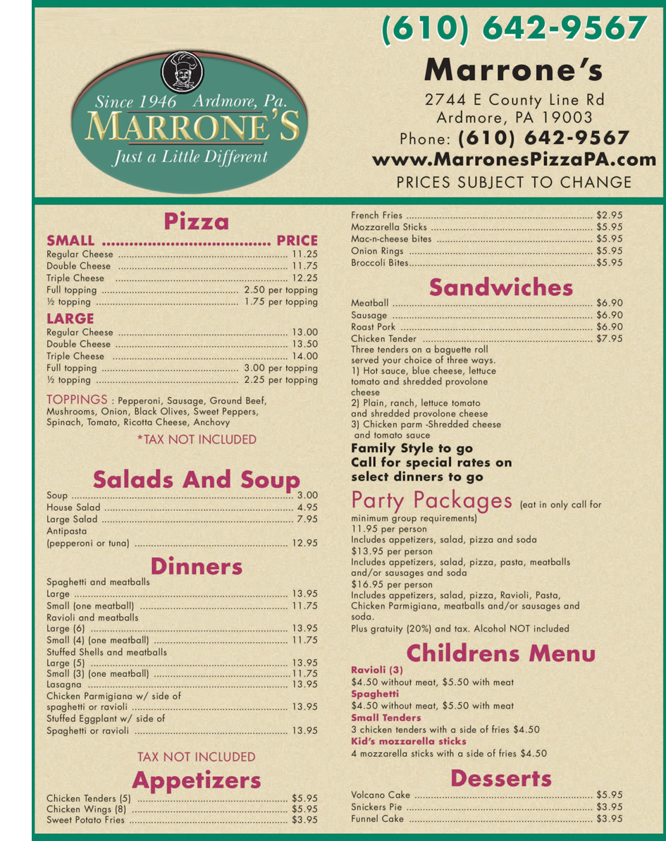 Private Parties - Ardmore, PA - Marrone's Pizzeria