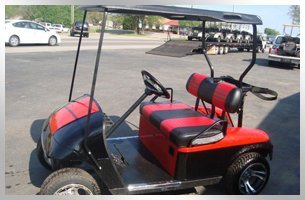 New red and black golf car