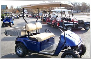 New blue golf car