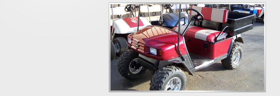 Red golf car for rent