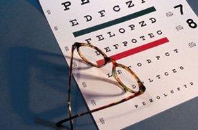 Eyeglass with eye chart
