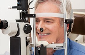 Man having eye check up