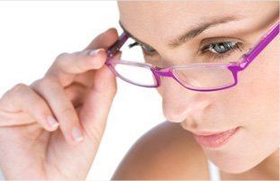Female caucasian wearing nice pink eyeglass