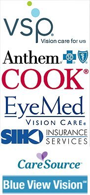 Vsp, Anthem, Cook, Eye Med, Siho Insurance Services, CareSource, & Blue View Vision