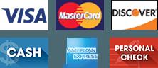 Visa   MasterCard   Discover   Cash   American Express   Personal Check