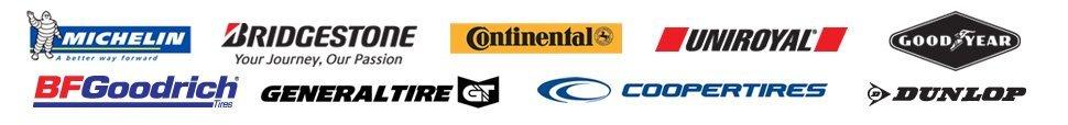 Bridgestone, Continental, Coopertires, Dunlop, Generaltires, BFGoodrich, Goodyear, Michelin, Uniroyal