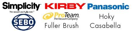 Simplicity, Kirby, Panasonic, SEBO, ProTeam, Fuller Brush, Hoky, Casabella