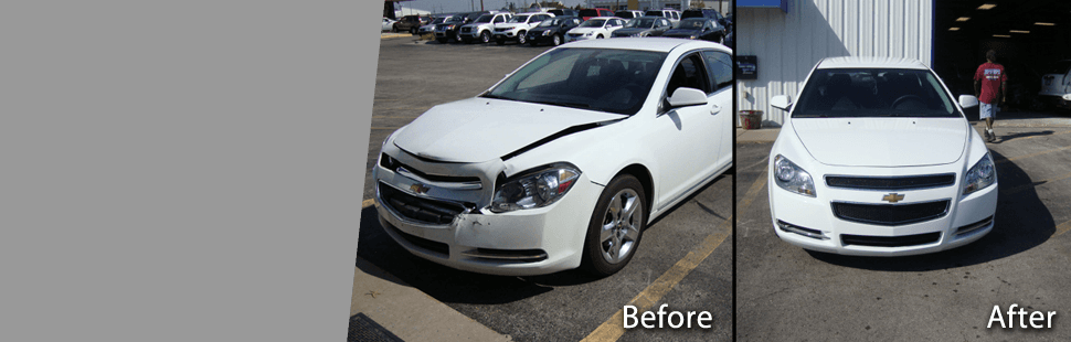Before and after photo of car dent repair