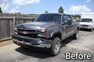 Before photo of truck dent