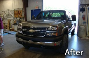 After photo of truck dent repair