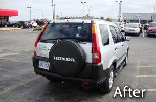 After photo of car den repair