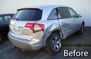 Before photo of car dent