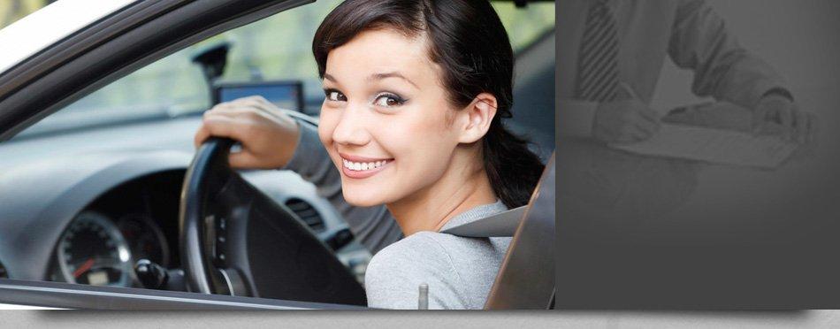 Woman on a car