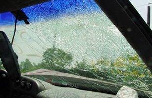Broken auto glass