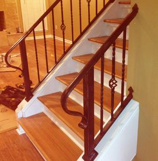 Iron railings to stairway indoors
