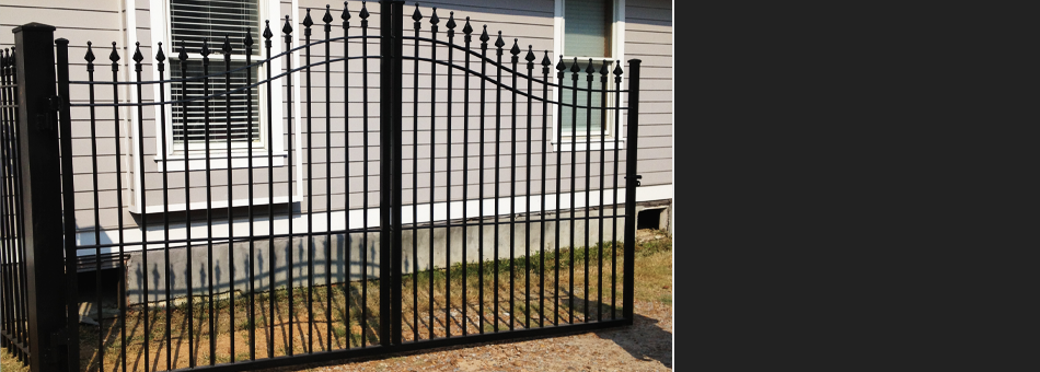 Iron gate painted black