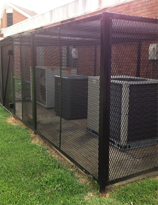 Iron cage on air conditioning unit outdoor