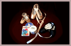 Assortment of pointe shoes and ribbons for ballet dancers available at Lines for the Body