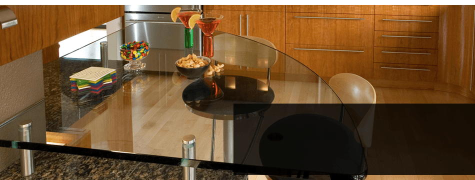 Glass table top in a kitchen