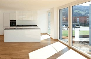 Sliding glass doors in a kitchen