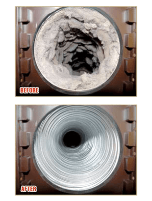 Dryer vent before and after, Man repairing dryer vent